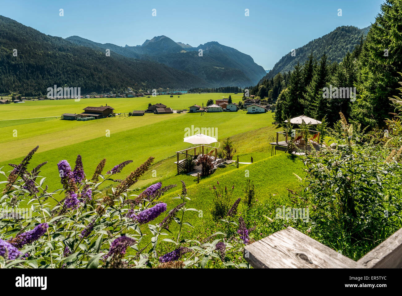 View to lake Achensee and Achenkirch, Tyrol, Austria - Stock Image