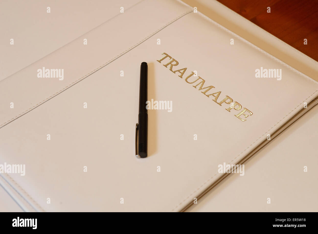 Pen is lying on a documet folder for civil marriage, civil ceremony, Germany - Stock Image