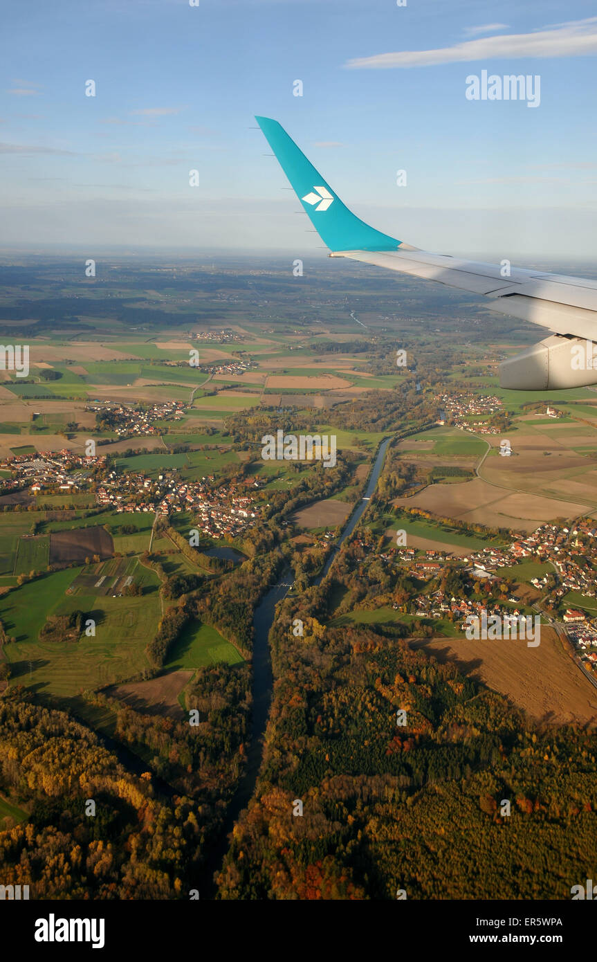 View from airplane Air Dolomiti, river Isar at the Airport, Munich, Bavaria, Germany - Stock Image