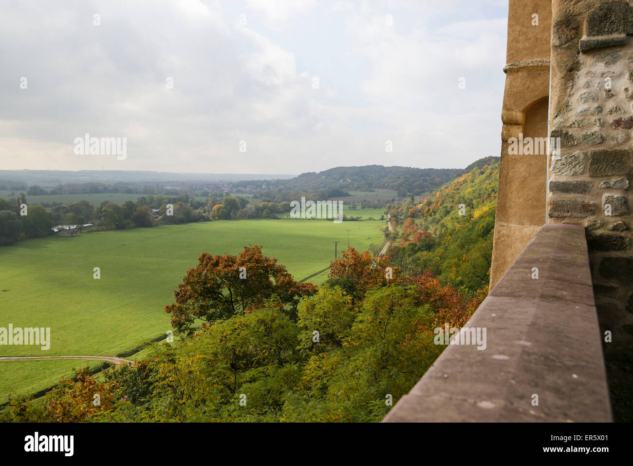 View from castle Goseck, Goseck, Saxony-Anhalt, Germany - Stock Image