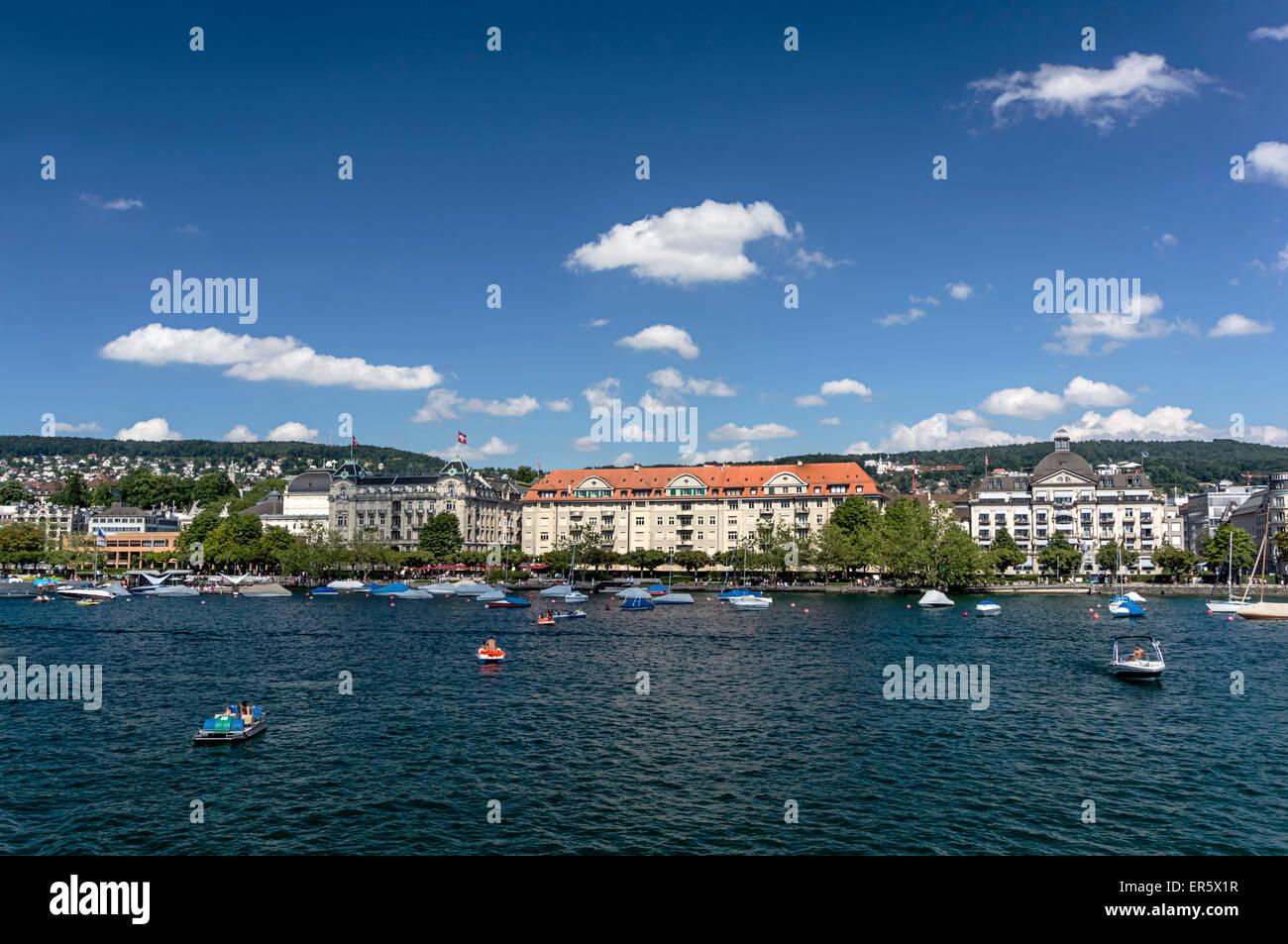 Lake Zurich, Promenade with old houses and villas, Zurich, Canton Zurich, Switzerland - Stock Image