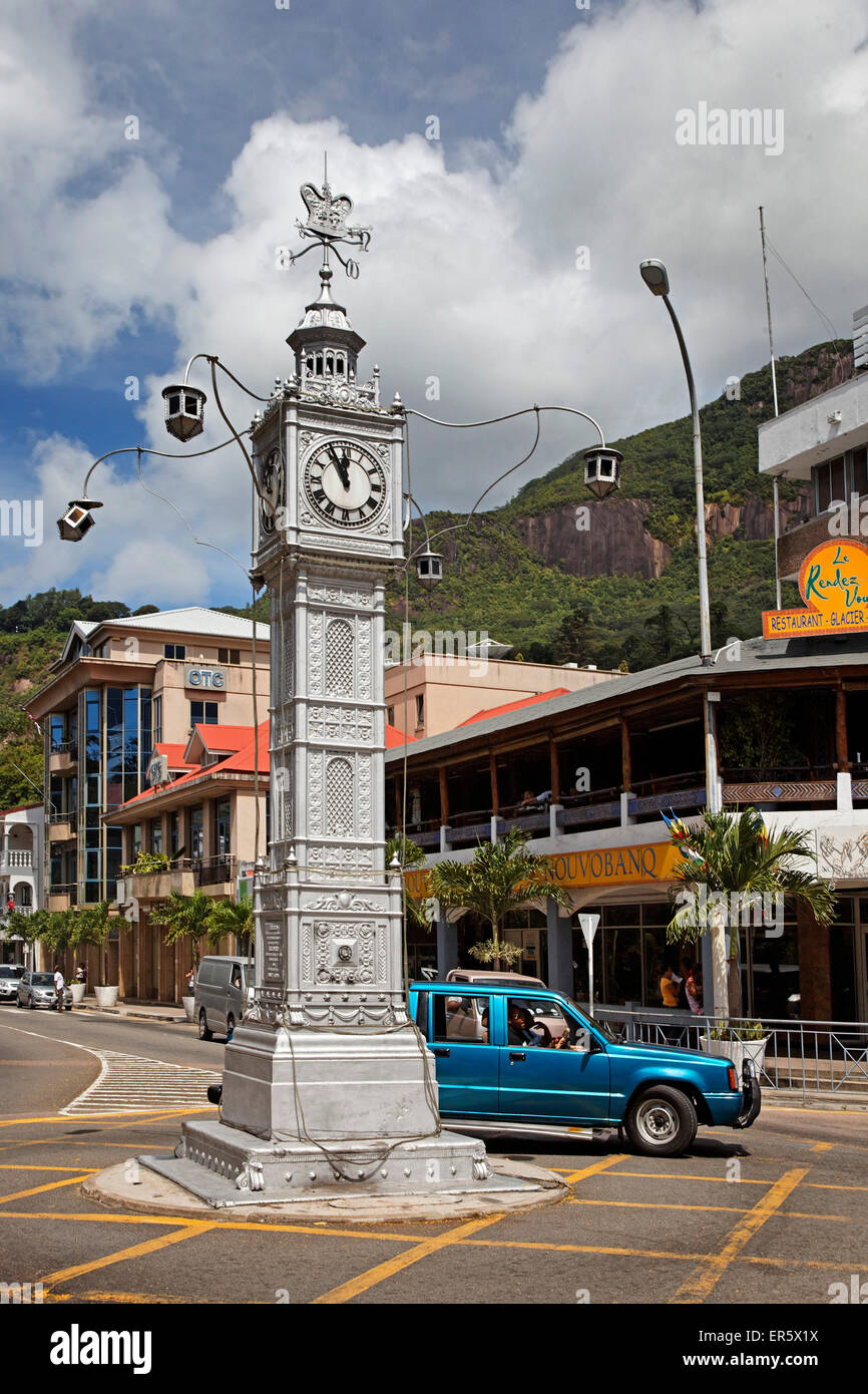 Clock tower, Victoria, Island of Mahe, Seychelles, Indian Ocean, Africa - Stock Image