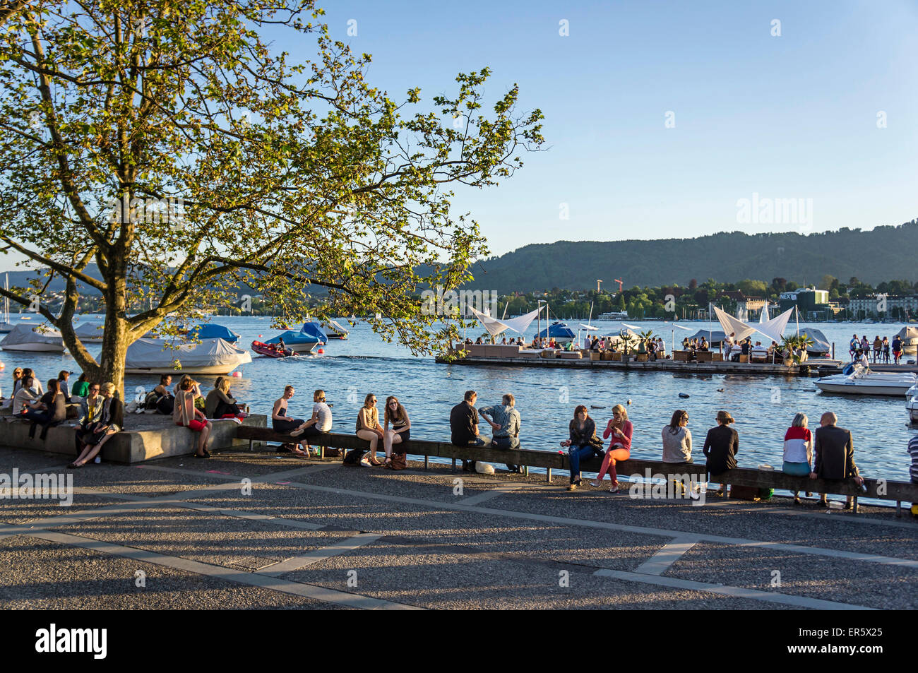 lake Zurich promenade, Zurich, Switzerland - Stock Image