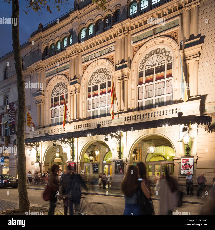 Gran Teatre del Liceu in the evening light, Opera House, La Rambla, Barcelona, Spain - Stock Image