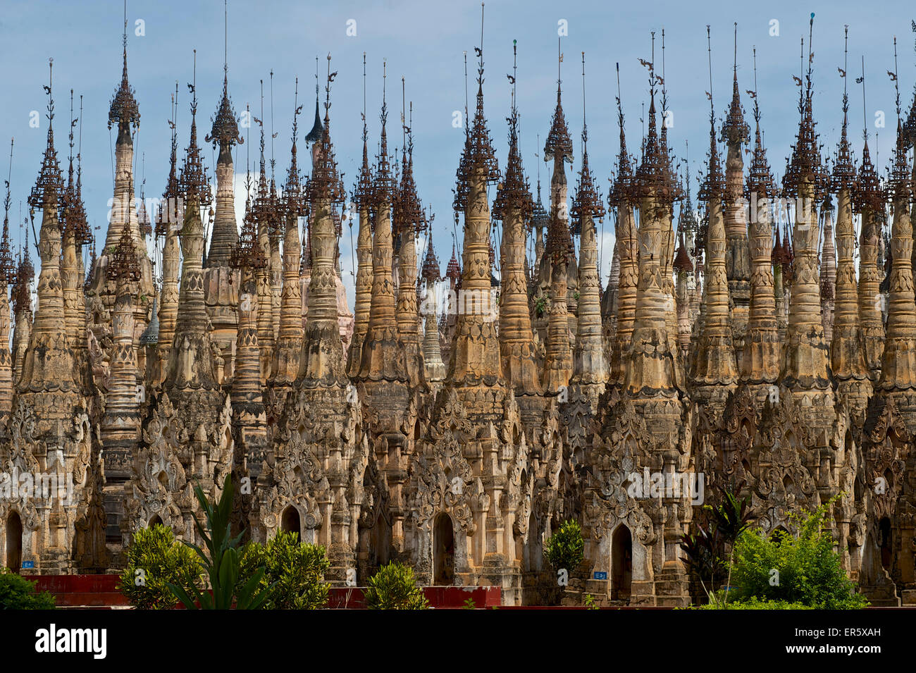 Kakku pagoda field, day trip from Inle Lake, Shan State, Myanmar, Burma - Stock Image