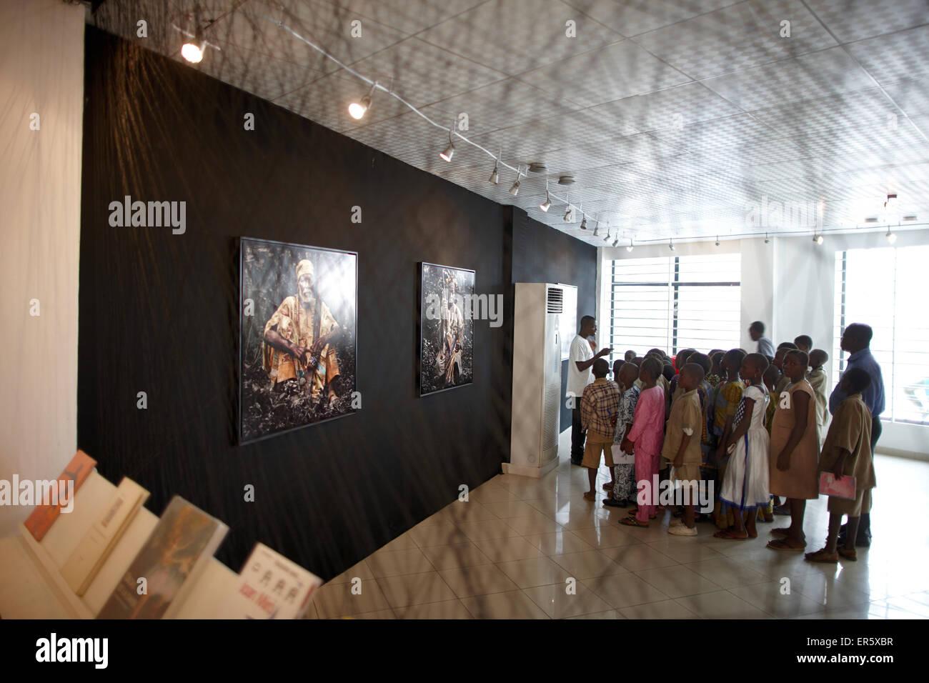 School class visiting a photo exibition, African Contemporary Art, Foundation Zinsou, Cotonou, Littoral Department, - Stock Image