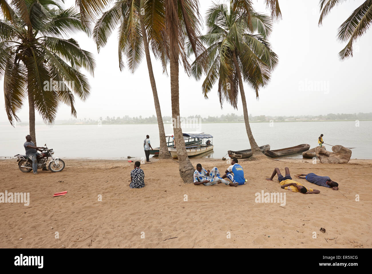Boats at the Mono riverbank, Grand-Popo, Mono Department, Benin - Stock Image