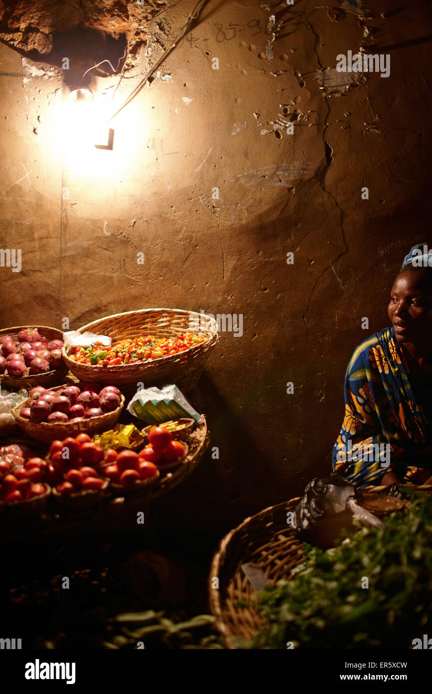 Night market, Ouidah, Atlantique Department, Benin Stock Photo