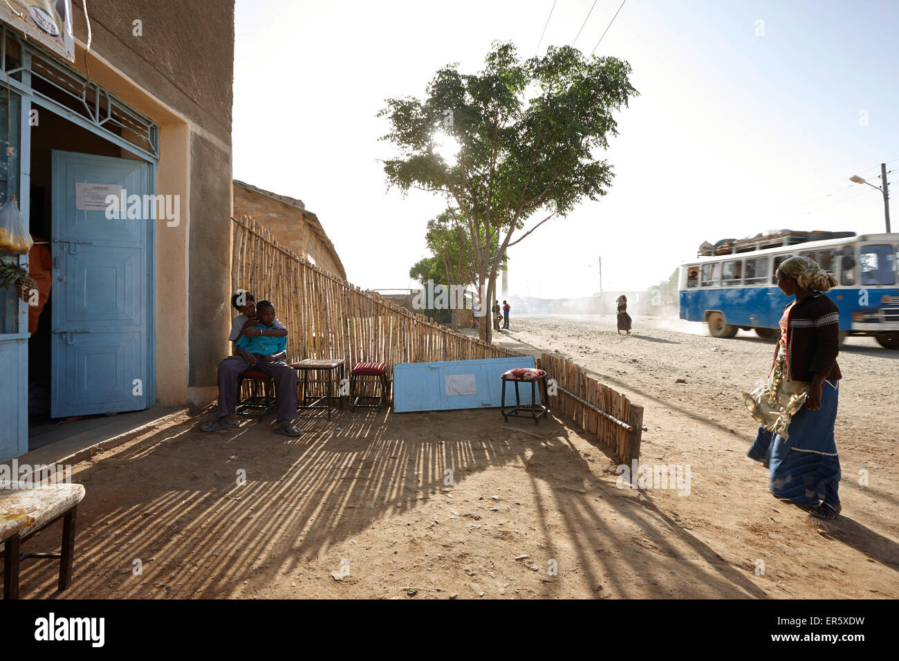 Terrace of a juice stand, Hawzien, Tigray Region, Ethiopia - Stock Image