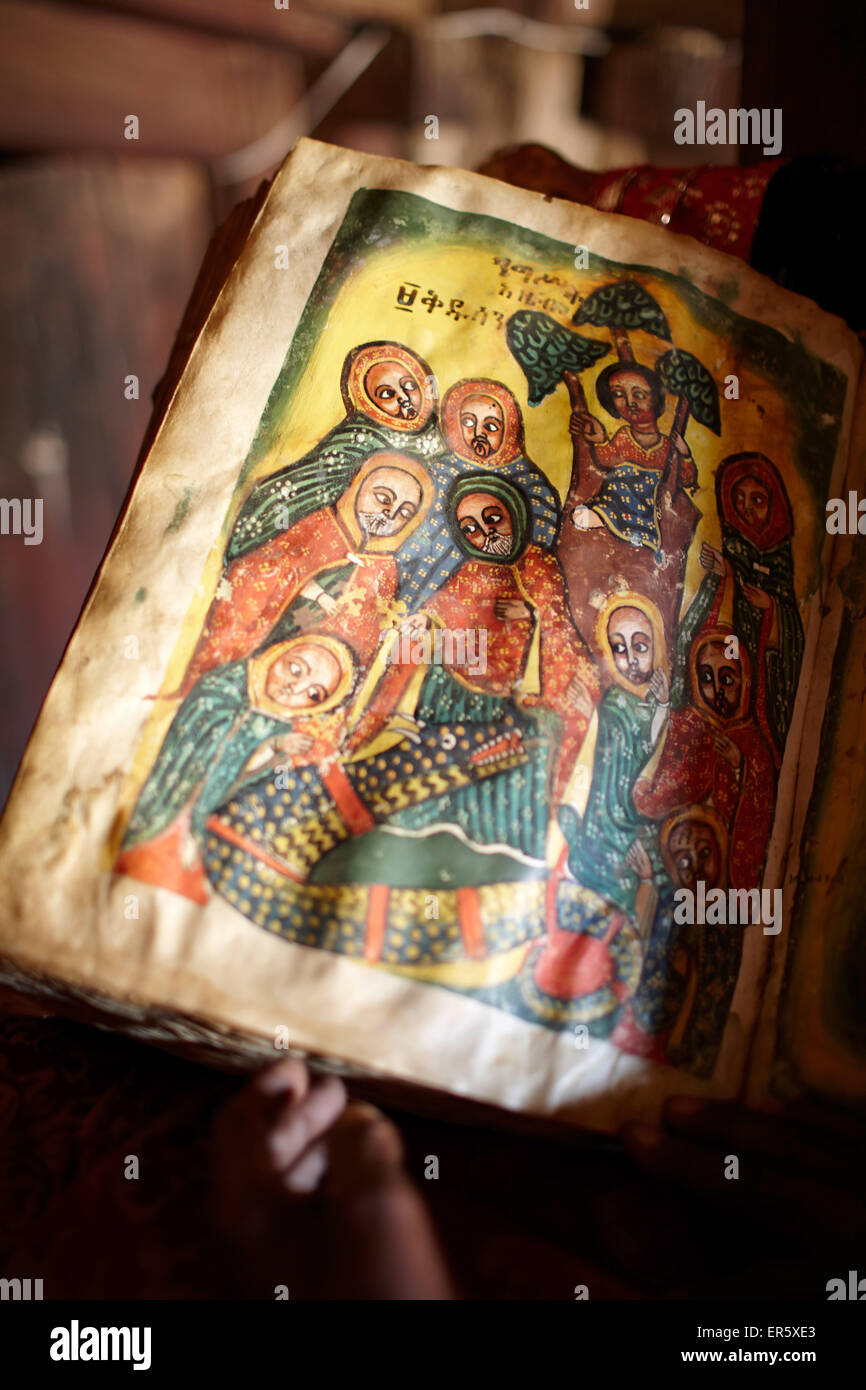 Old goat skin book written in Geez, monastery Debre Damo, near Adigrat, Tigray Region, Ethiopia - Stock Image