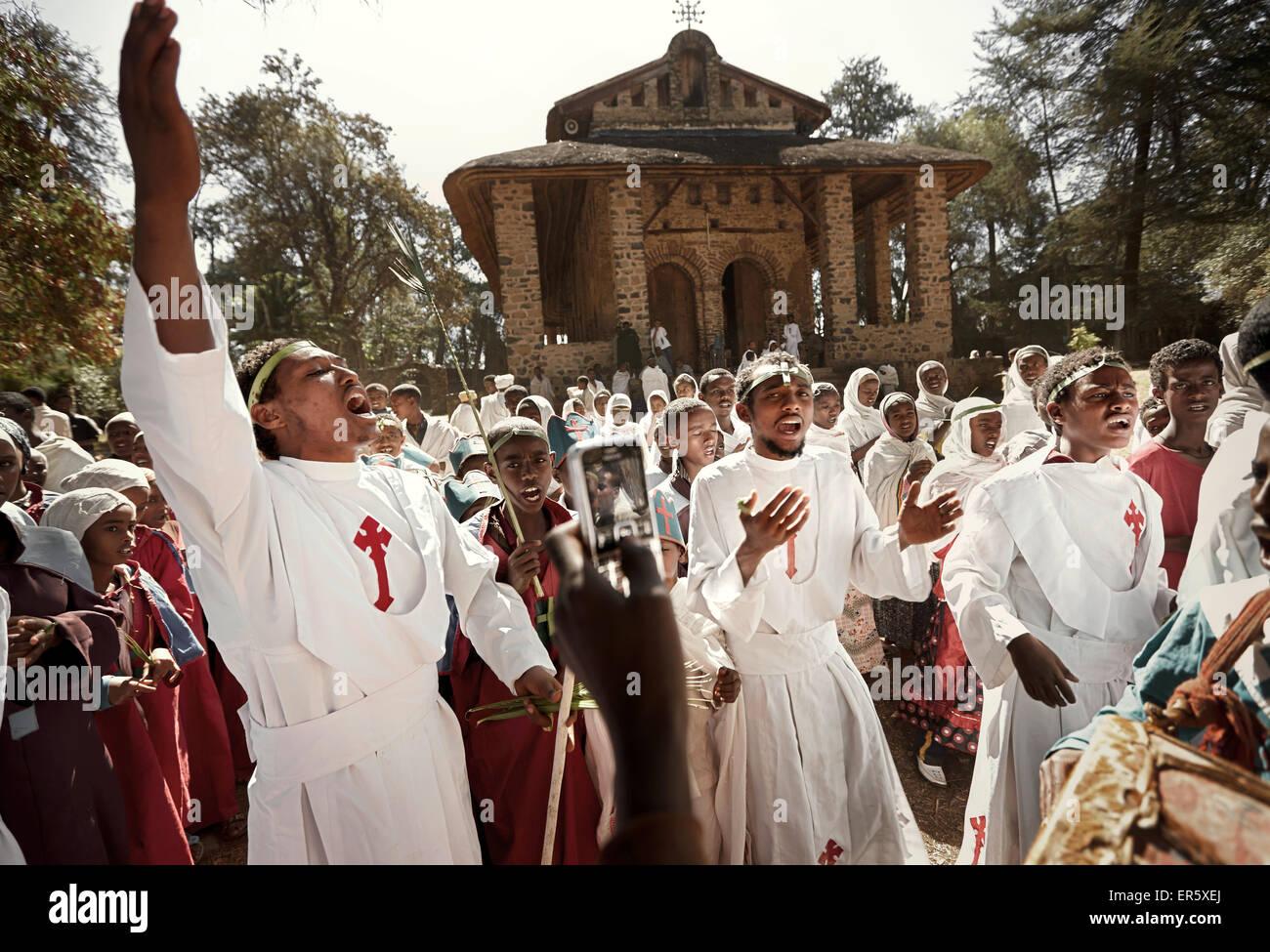 Members of convent school celebrating, Debre Berhan Selassie, Gondar, Amhara region, Ethiopia - Stock Image