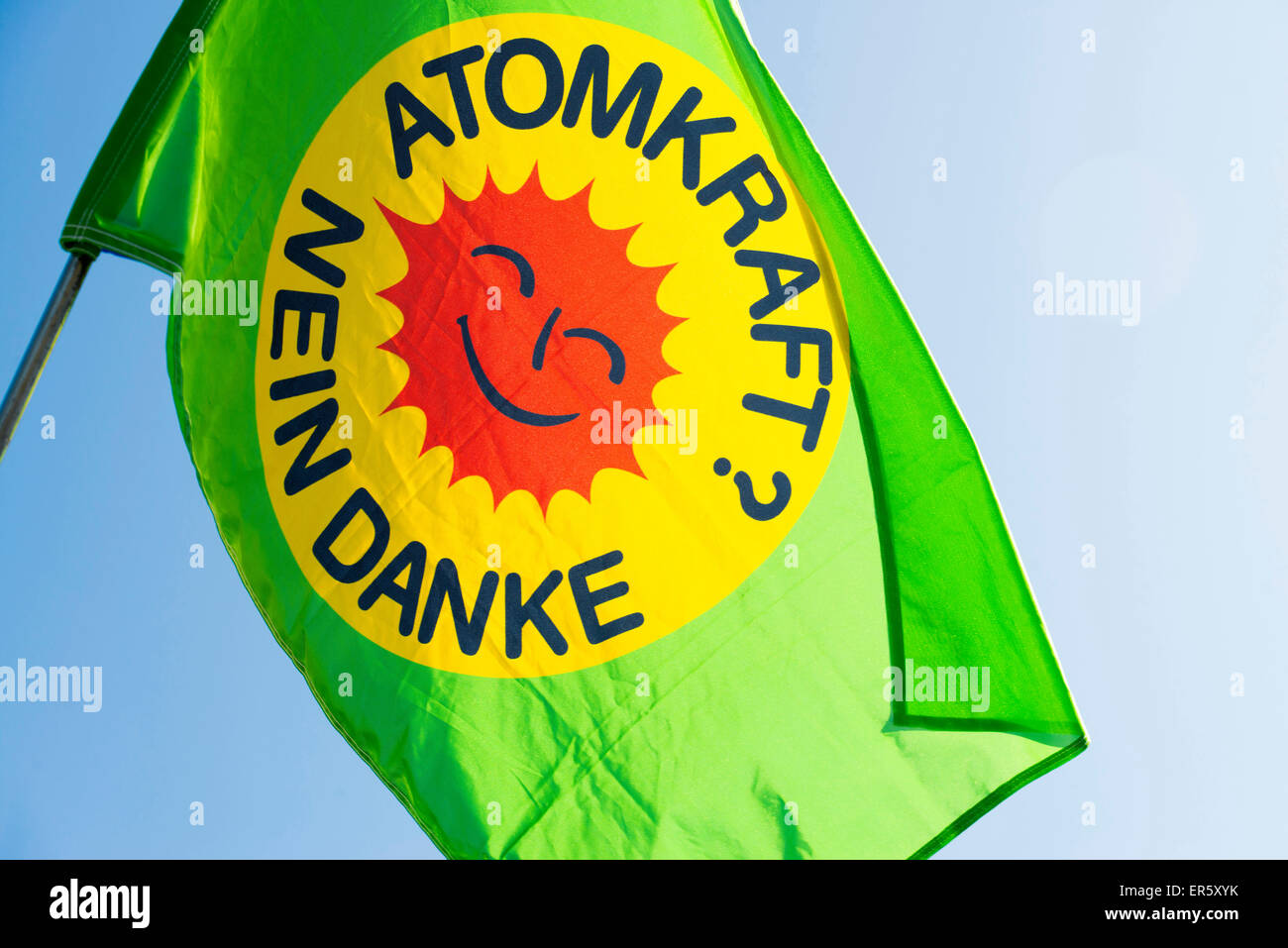 Demonstration against nuclear power in front of the atomic power plant Fessenheim, Fessenheim, Alsace, France - Stock Image