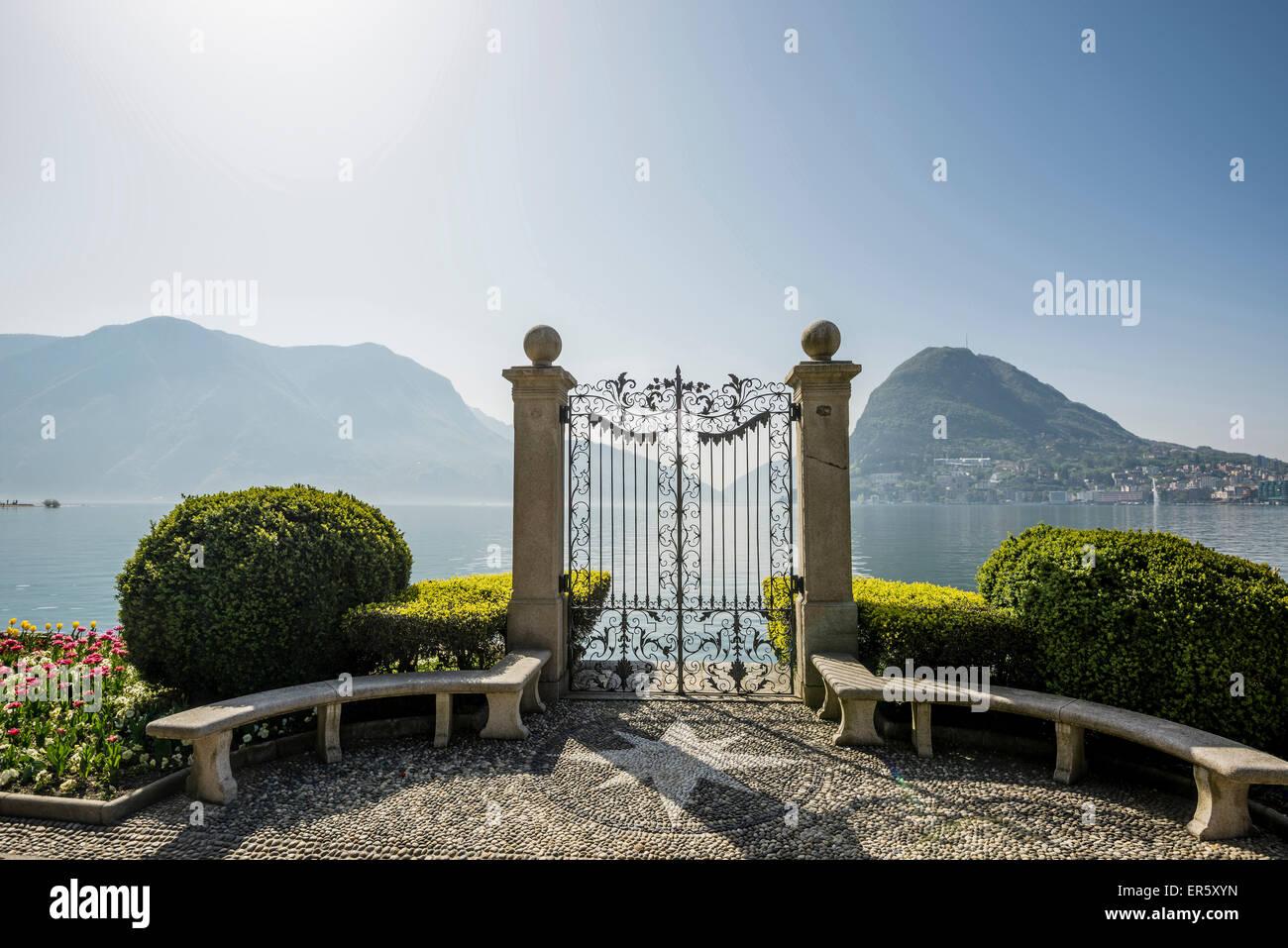 Parco Civico, Lugano, Lake Lugano, canton of Ticino, Switzerland Stock Photo