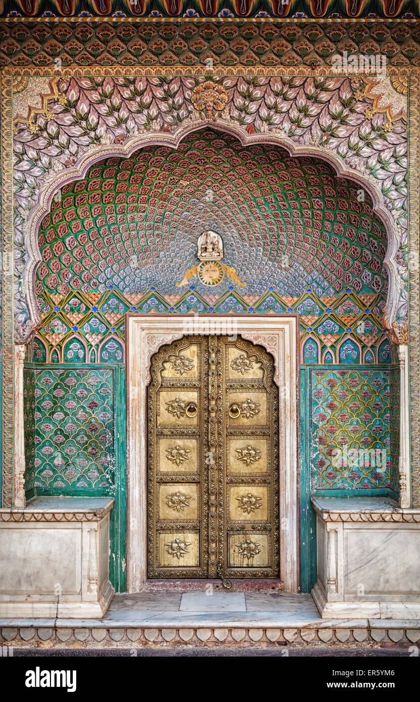 Rose gate door in City Palace of Jaipur, Rajasthan, India - Stock Image