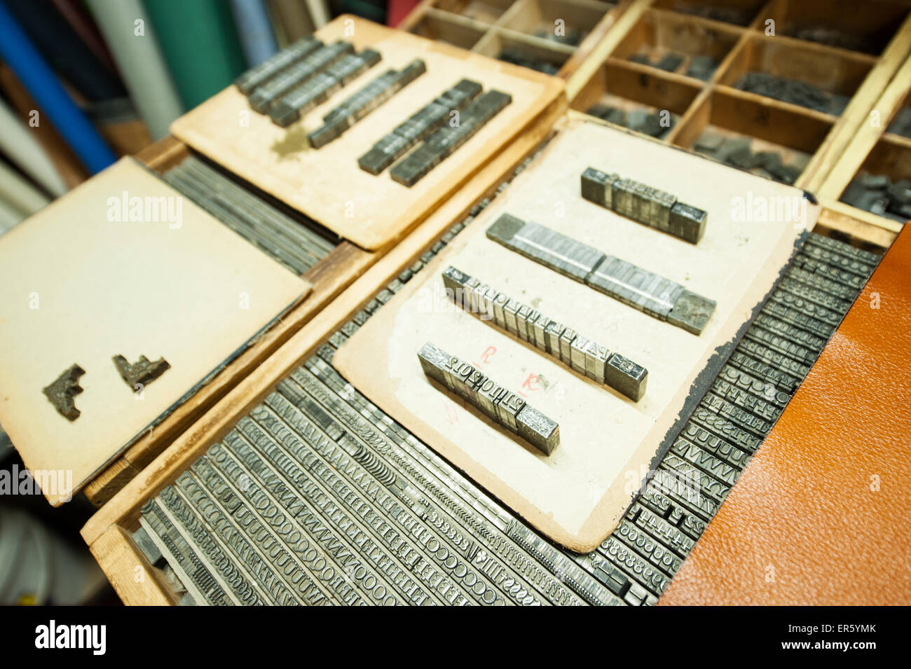 Metal letters and numbers in a book binder business, one of two such shops in the capitol, Hoza street, Warsaw, - Stock Image