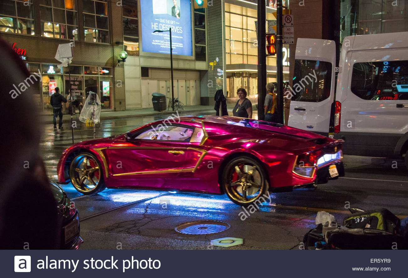 Toronto, Canada. 27th May, 2015. Suicide Squad movie filming or shooting in downtown Toronto, hero car in the production,the - Stock Image