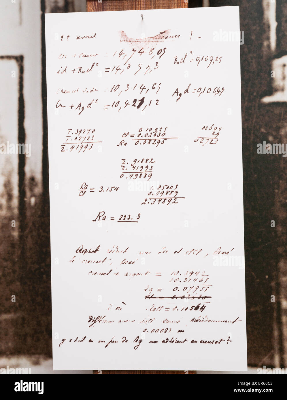 Copy of Madame Marie Curie's scientific equations of radium that this Nobel Prize-winning physicist discovered, Marie Curie Muse Stock Photo