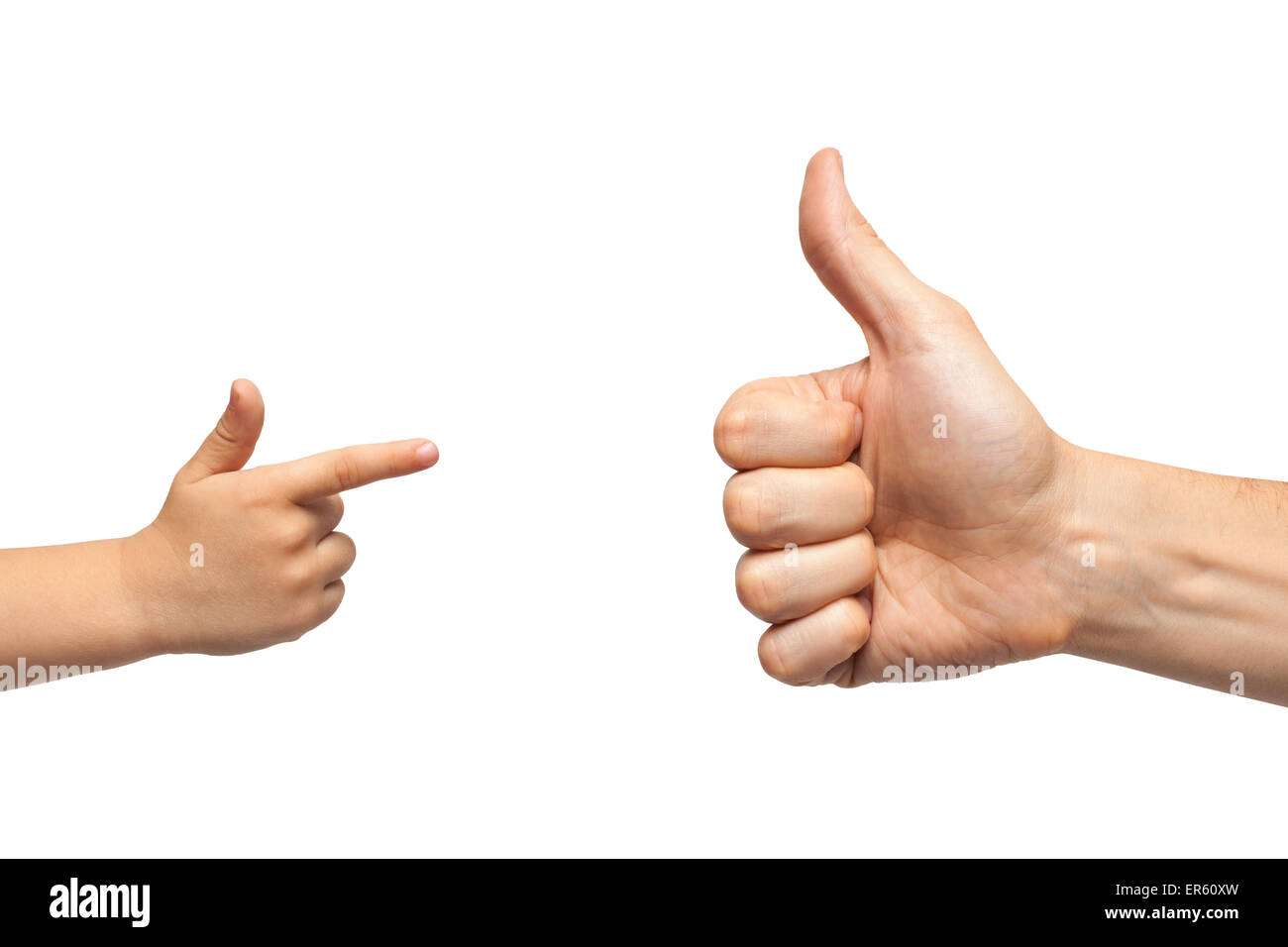 father and son hands giving like and pointing, or gun gesture on white background. Isolated - Stock Image