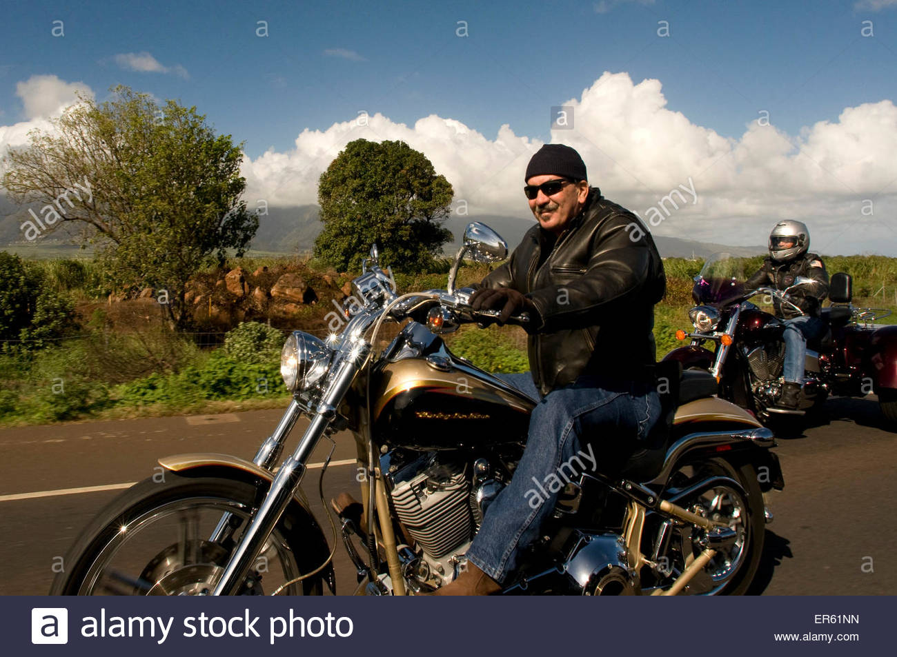 Harley Davidson Bikers on the Road between Kahului and Kihei. Maui. Hawaii. - Stock Image