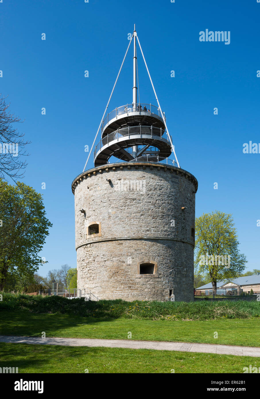 Lookout tower in egapark, 1530 turret of the citadel Cariaksburg, built on to in 1999, BUGA 2021, Erfurt, Thuringia, - Stock Image