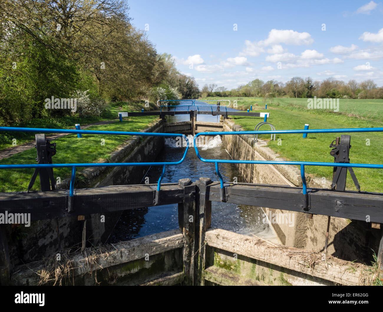 Beeleigh Lock on the River Chelmer and Blackwater Navigation in Essex - Stock Image
