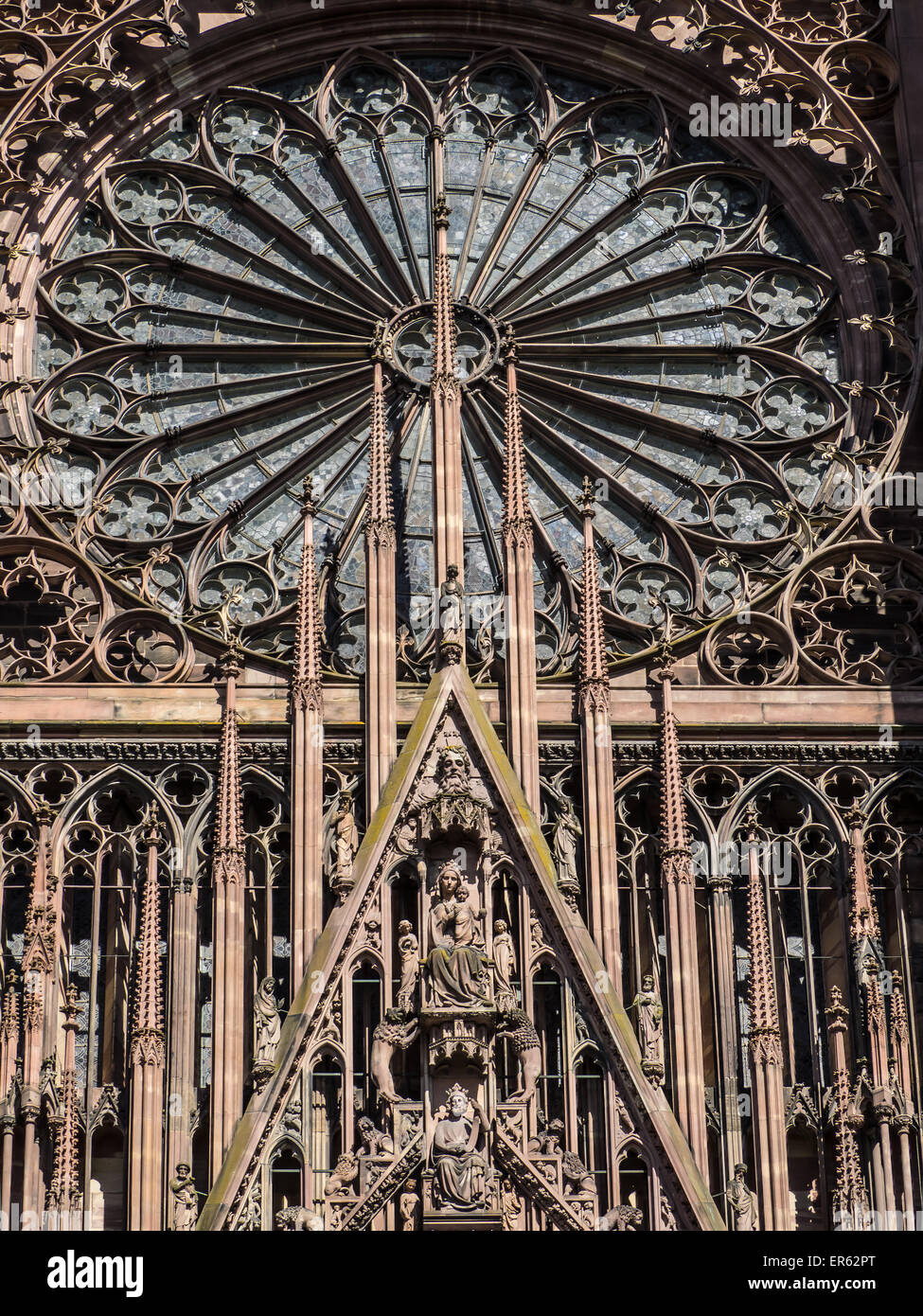 Strasbourg Cathedral Detail Of The South Facade With Rose Window Alsace