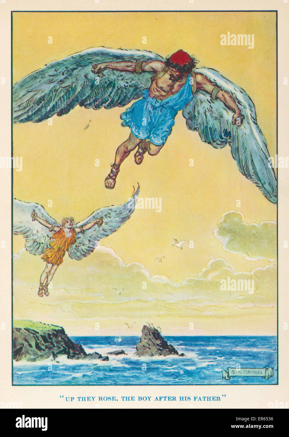 Daedalus encouraged his son Icarus to fly from the island of Crete to the sun. But the sun melted the wax with which - Stock Image