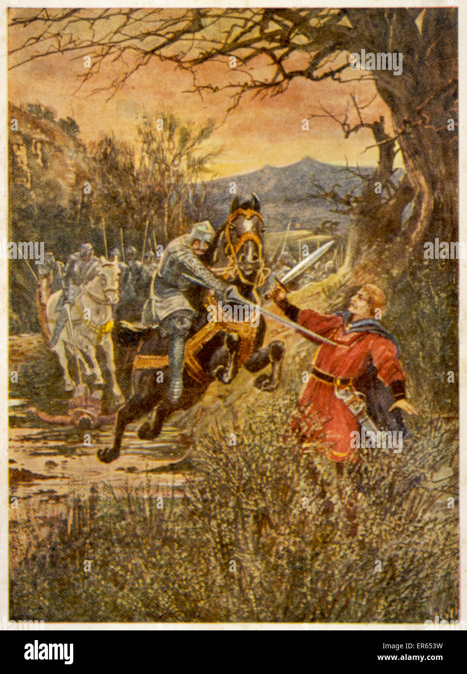 LLYWELYN AP GRUFFUDD The unarmoured Welsh hero is treacherously murdered in a broom thicket by Stephen Frankton. - Stock Image