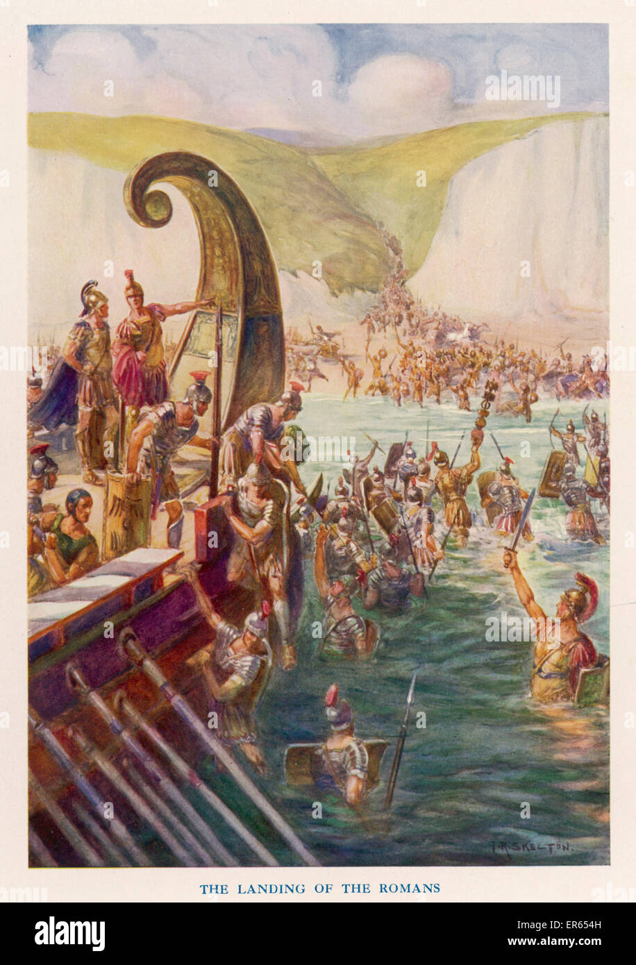 Following his preliminary expedition of 55 BC, Julius Caesar and his 5 Roman legions (25,000 men) and 2,000 cavalry - Stock Image