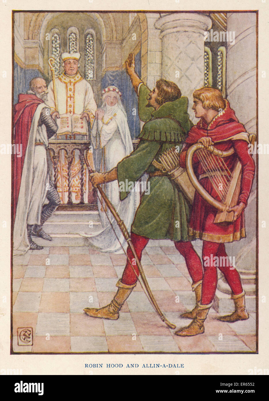 Robin helps Alan-a-Dale to stop the marriage of Alan's sweetheart Alice de Beauforest to the evil rich old knight - Stock Image
