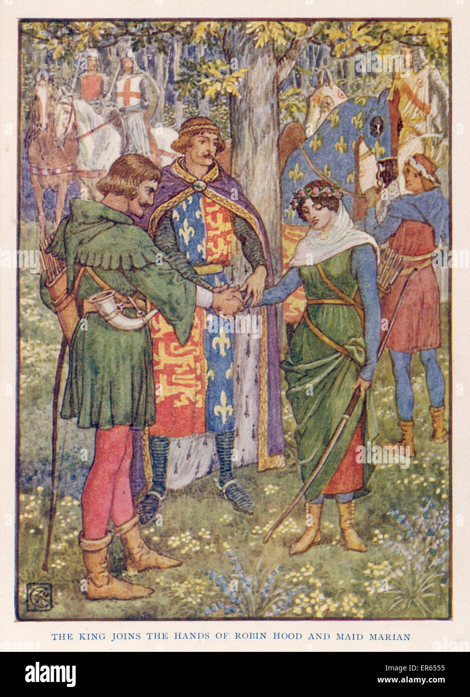 King Richard I joins the hands of Robin Hood and Maid Marian in marriage. - Stock Image