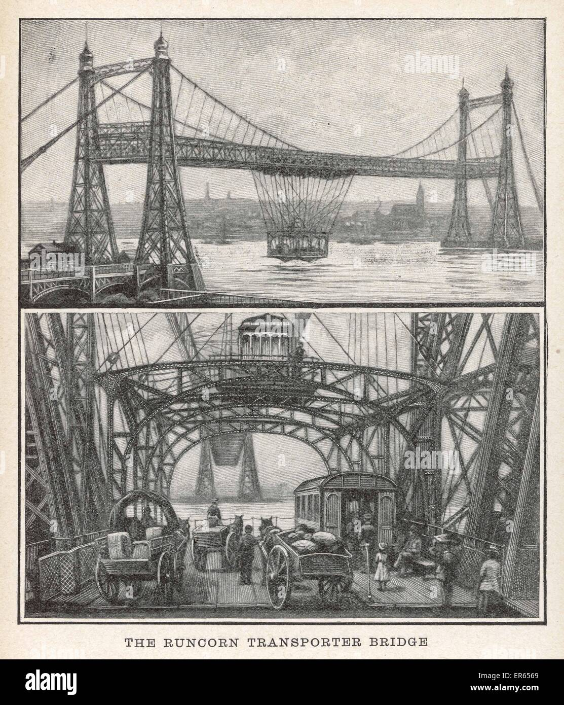 This bridge connected Runcorn and Widnes across the river Mersey. It opened 29 May 1905, replacing the previous - Stock Image