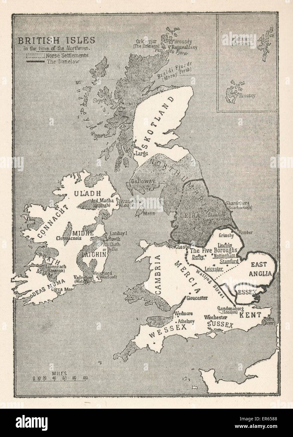 Map Of Ireland Vikings.A Map Of The British Isles Including Ireland During The Time Of