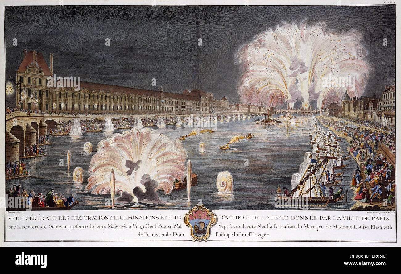 Fireworks on the River Seine, Paris, on the occasion of the marriage of Princess Louise Elisabeth of France (the - Stock Image
