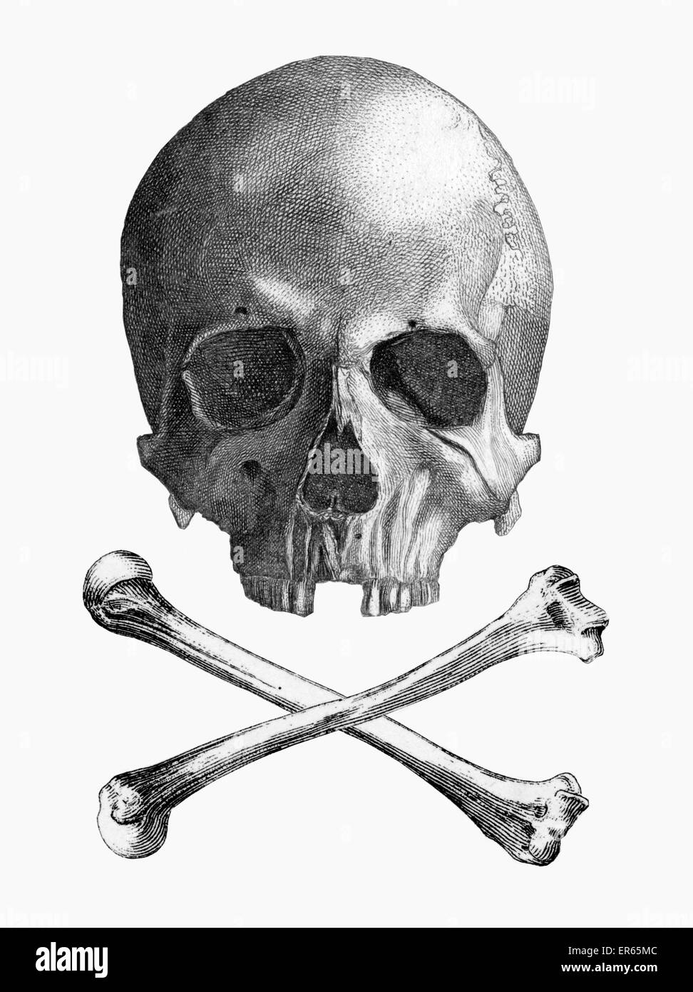 The Jolly Roger is the name given to any of various flags flown to identify a ship's crew as pirates. The flag - Stock Image