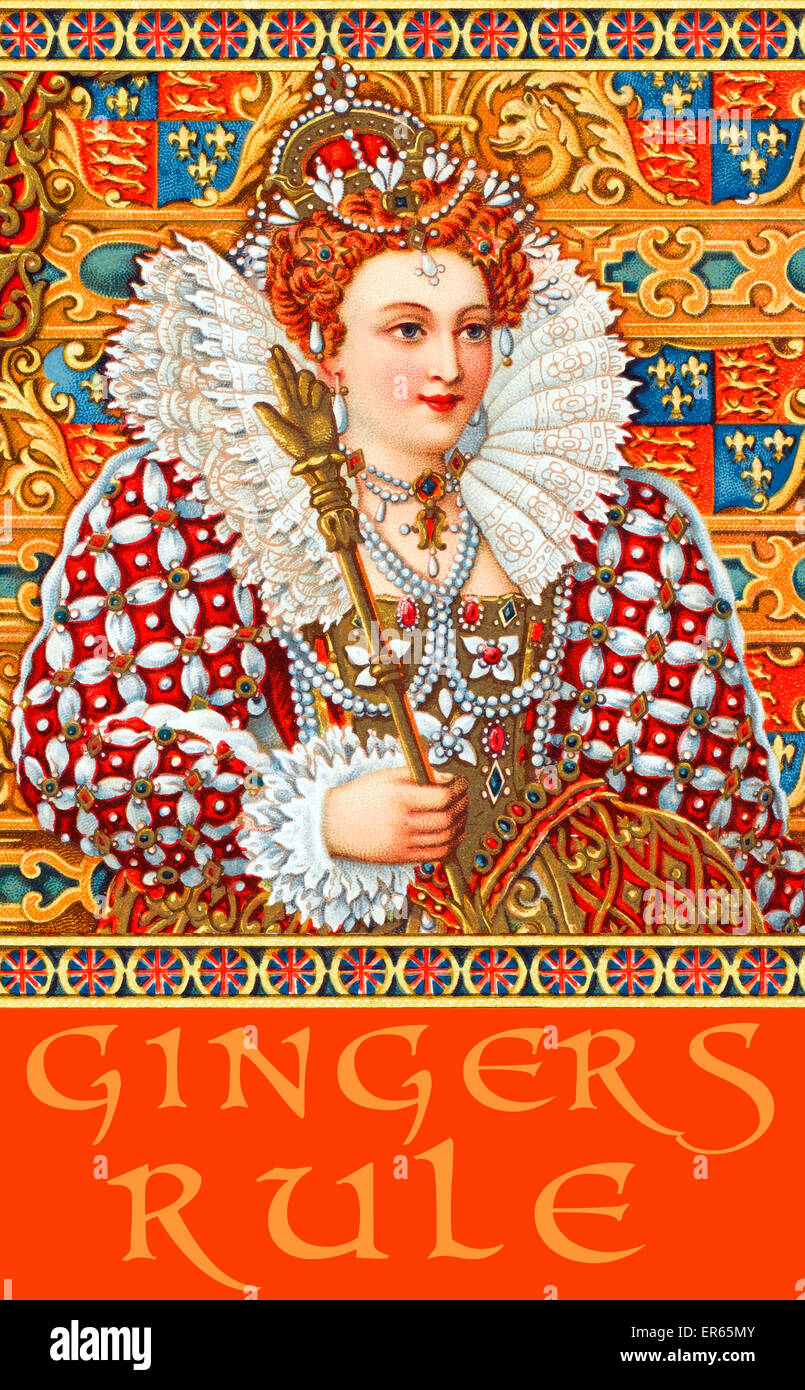 Queen Elizabeth I - T-shirt / poster print design GINGERS RULE 16th century - Stock Image