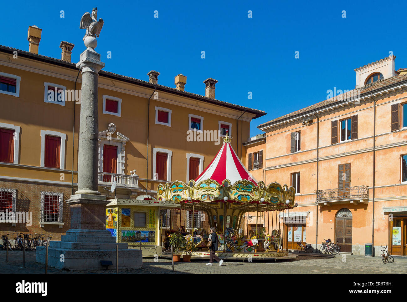 Italy, Ravenna, a carousel in Piazza XX Settembre. - Stock Image