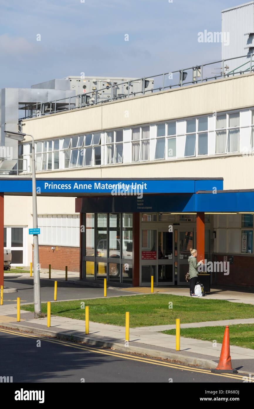 Entrance to the Princess Anne Maternity Unit at the Royal Bolton Hospital, Lancashire. - Stock Image