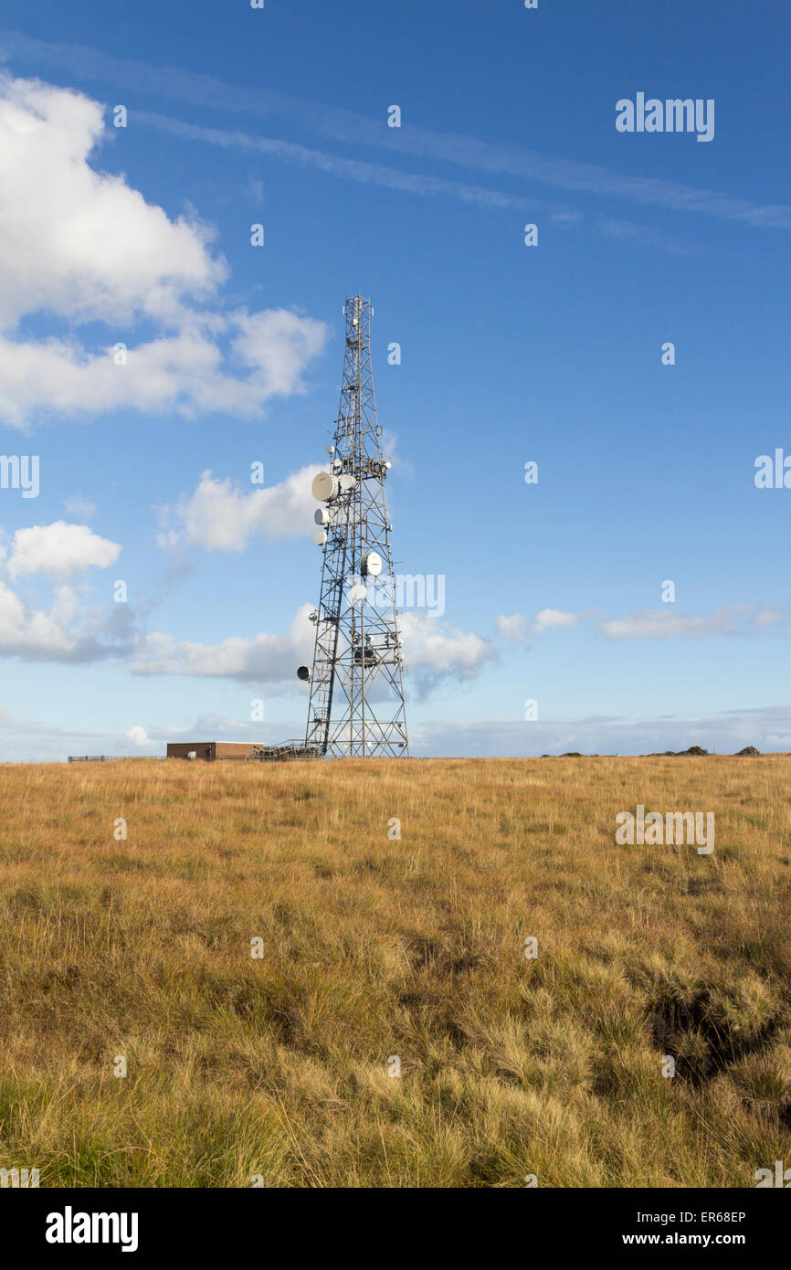 Winter Hill transmitter mast, Bolton. One of a line of smaller masts in the Winter Hill telecommunications mast - Stock Image