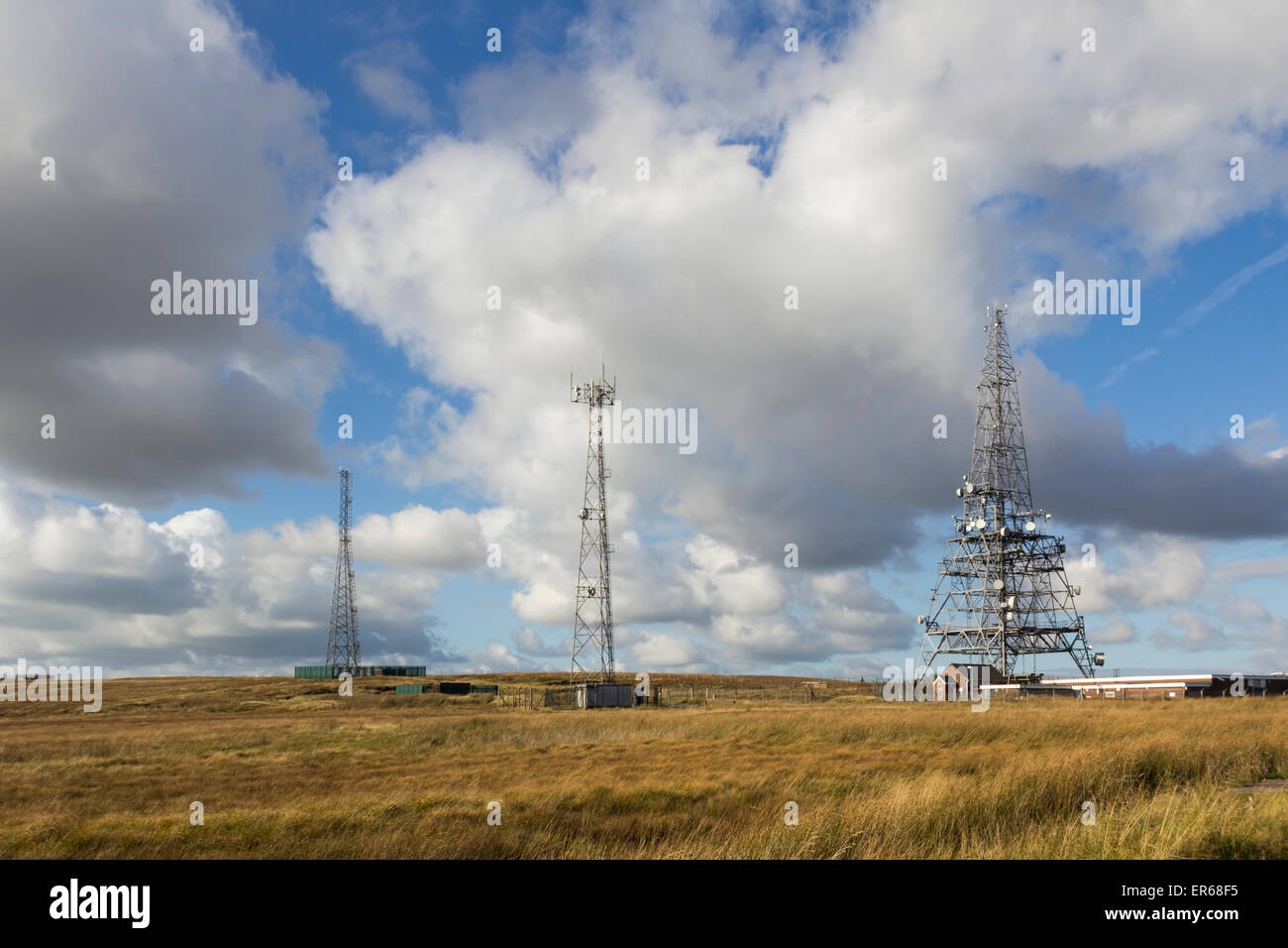 Winter Hill transmitter masts, Bolton. Part of a line of smaller masts in the Winter Hill telecommunications mast - Stock Image