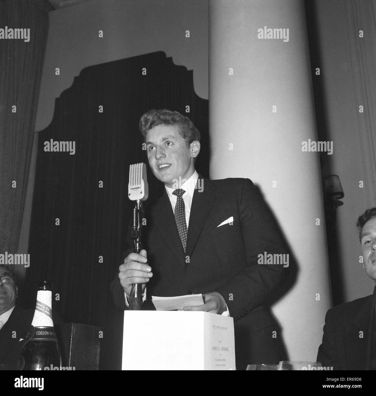Ian MacIntosh Black, Scottish swimmer, pictured at Sportswriters Annual Dinner, 5th December 1958.  He was BBC Sports - Stock Image