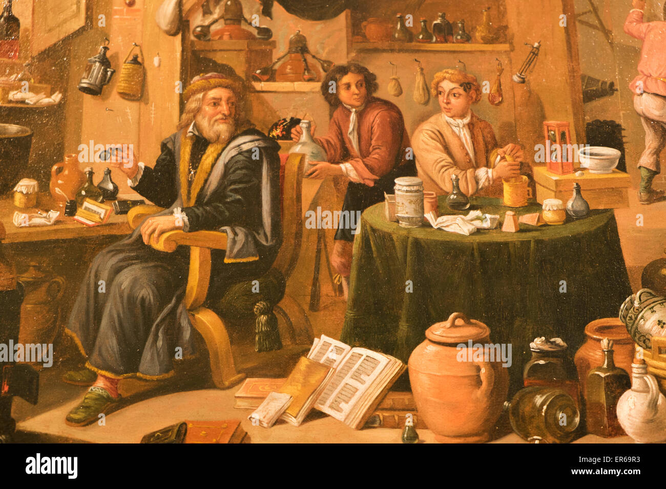 England, London, The Wellcome Collection, The Reading Room, 17th century Painting titled 'An Alchemist in His - Stock Image