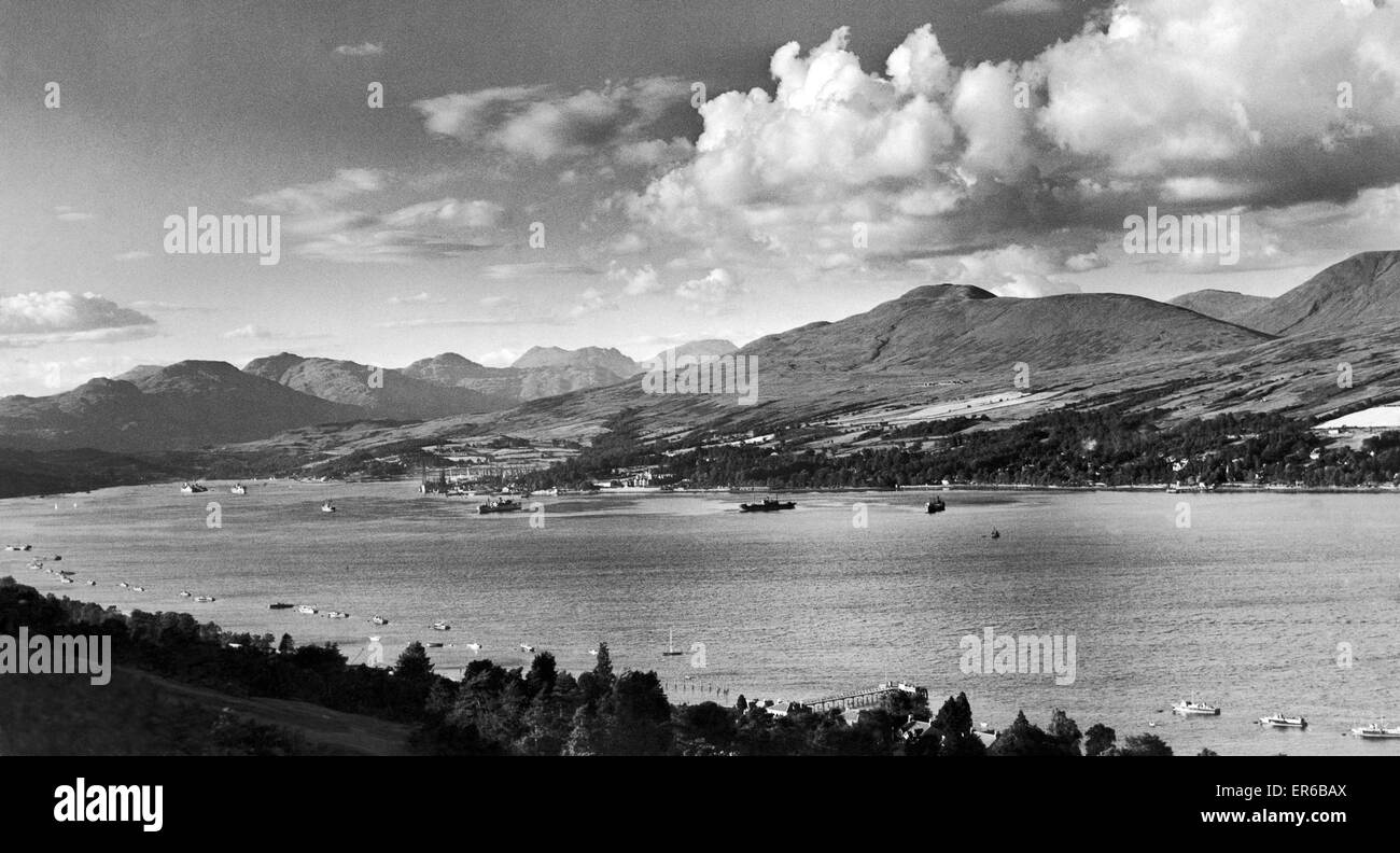 The sea loch on the Scottish West Coast known as Gare Loch  seen here from the Clynder Hills, Dunbartonshire. The - Stock Image