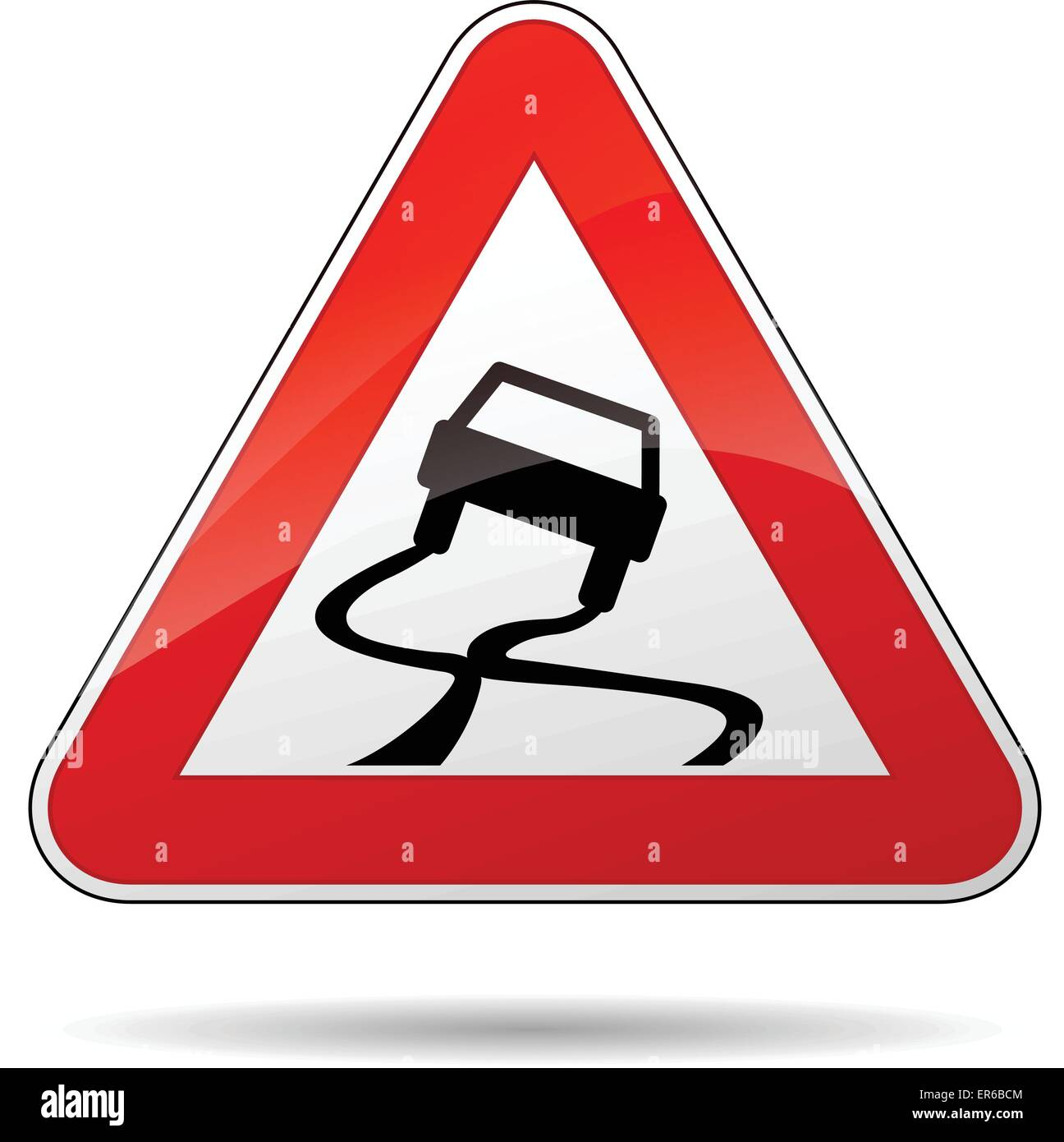 Vector illustration of triangle traffic sign for slippery road - Stock Vector