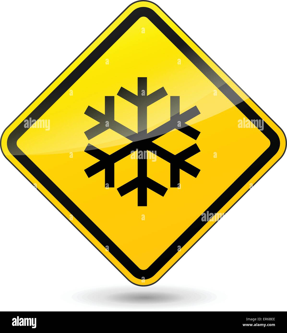 Vector illustration of ice yellow sign on white background - Stock Image
