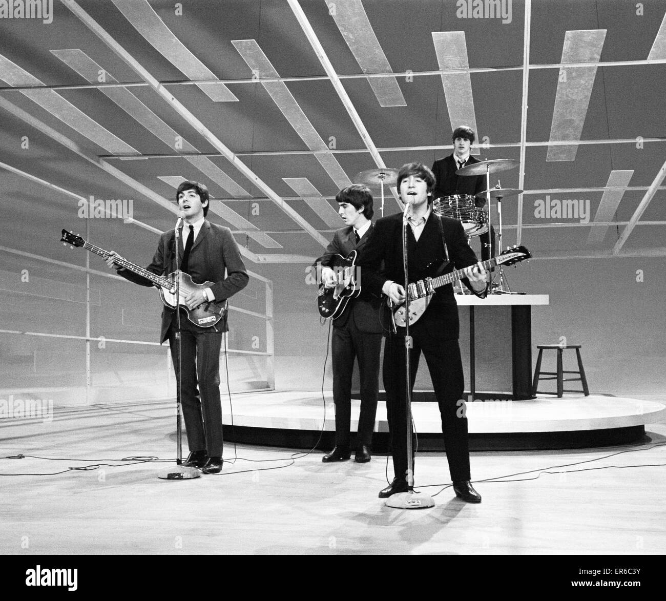 Beatles Files 1964 John Lennon Paul McCartney George Harrison and Ringo Starr rehearse their appearance on the Ed - Stock Image