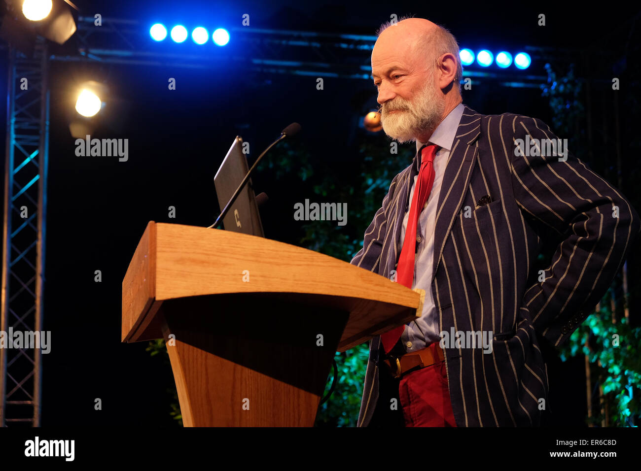 Hay Festival, Powys, Wales - May 2015  -  Author Raymond Tallis talks on stage about his latest book The Black Mirror - Stock Image