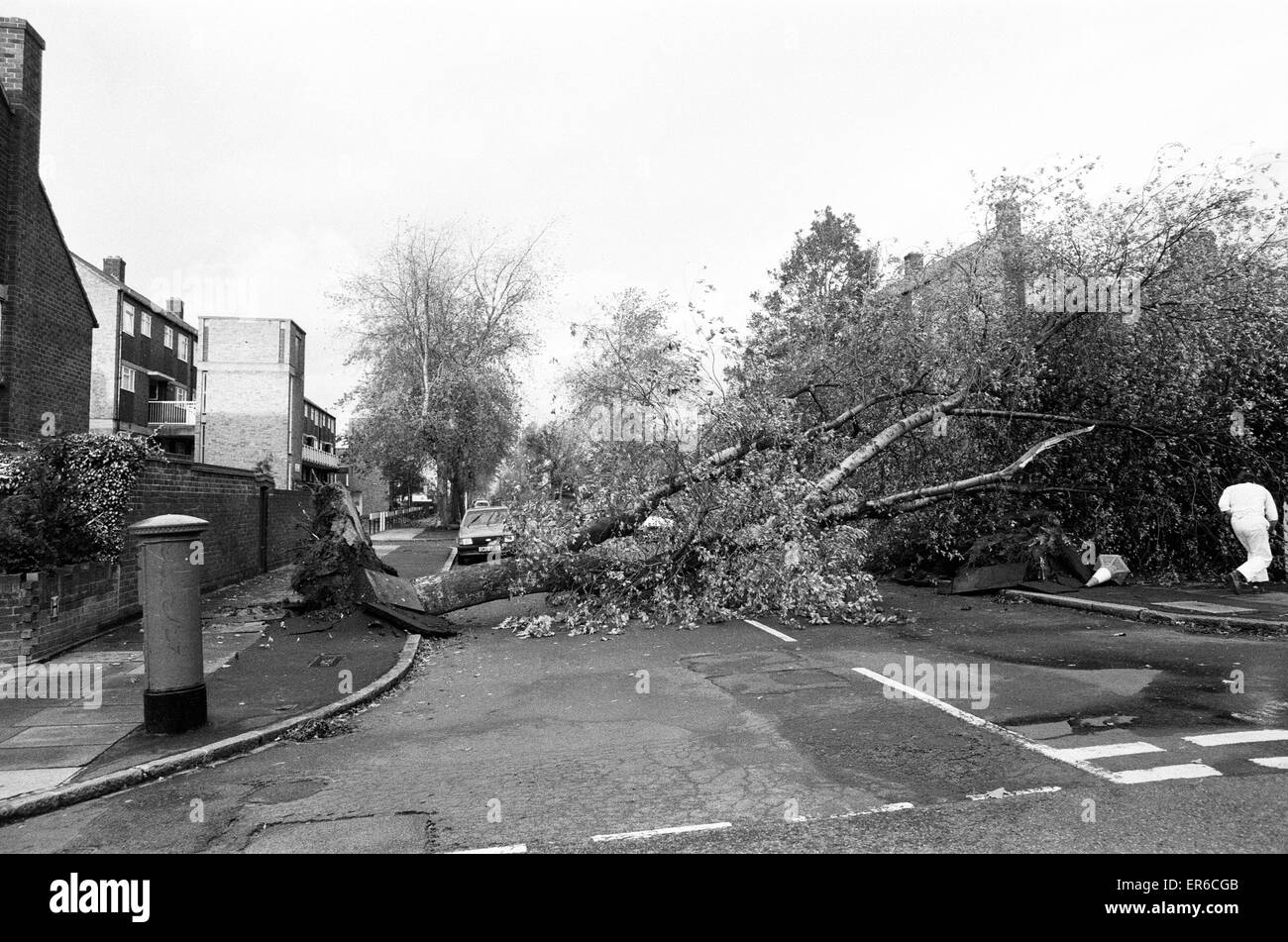 The 1987 Great Storm occurred on the night of 15 - 16th October 1987. An unusually strong weather system caused - Stock Image