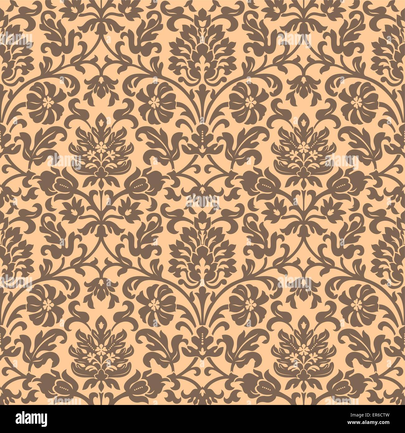 Golden-sand seamless vintage wallpaper pattern. Vector image. - Stock Image