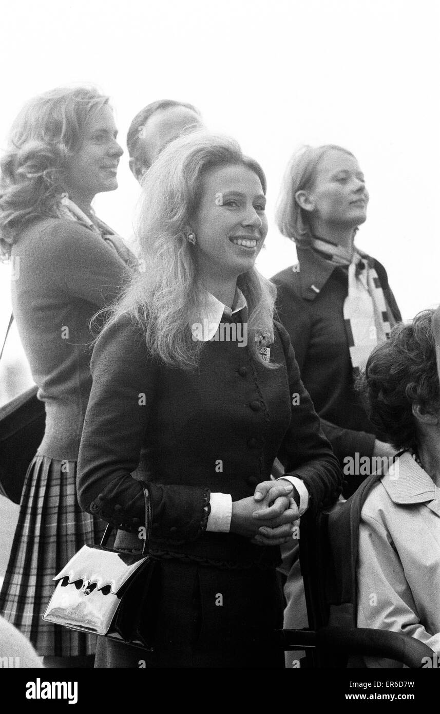 Equestrian Eventing at the Munch Olympic Games, Friday 1st September  1972. Princess Anne watches the Three Day - Stock Image